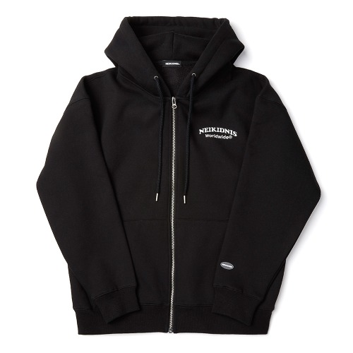 [기모] WORLD LOGO ZIP UP / BLACK